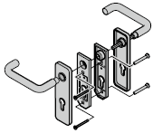 Garniture à béquilles arrondies (72) en fonte d'aluminium