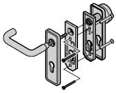 Garniture à bouton fixe et béquille arrondie (72), synthétique noire
