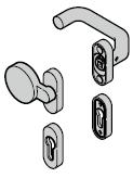 Garniture à bouton fixe (92) coudée / plate (portillon incorporé)