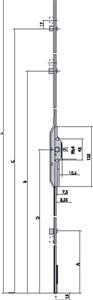 Crémone bi-directionnelle F 7,5 monobloc recoupable OF2 155 mm / 350-550 mm